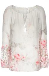 Шелковая блуза с вырезом-лодочка и перфорацией Elie Tahari