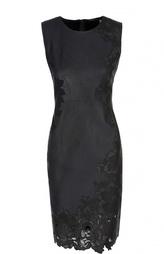 Кожаное платье-футляр с кружевной вставкой Elie Tahari