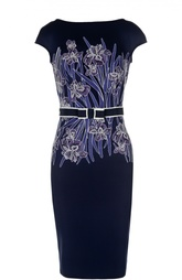 Платье-футляр с контрастным принтом и поясом Tadashi Shoji