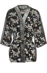 Шелковый жакет-кимоно с поясом Kenzo