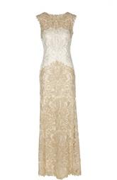 Кружевное платье в пол с круглым вырезом Tadashi Shoji