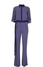 Шелковый комбинезон-рубашка с укороченным рукавом Diane Von Furstenberg