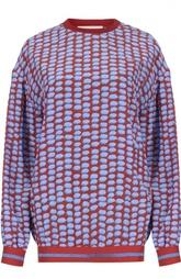 Шелковый свитшот с манжетами и ярким принтом Stella McCartney