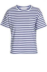 Прямая футболка в полоску с круглым вырезом Sacai