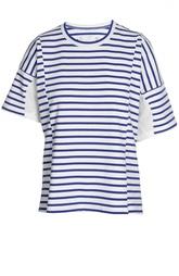 Хлопковая футболка в полоску с широкими рукавами Sacai