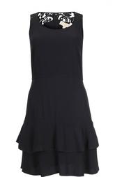 Приталенное платье с оборками и кружевной вставкой Michael Michael Kors