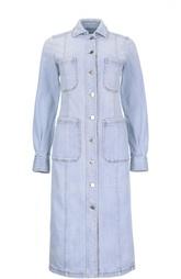 Джинсовое платье-миди на заклепках с нашивными карманами Stella McCartney