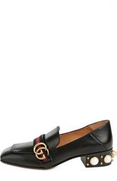 Кожаные лоферы с декоративной отделкой каблука Gucci