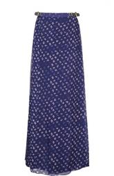 Шелковая юбка-макси на кожаных застежках по бокам Diane Von Furstenberg