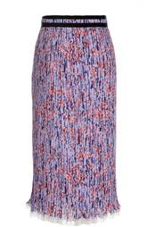Плиссированная юбка-миди с контрастной оборкой Carven