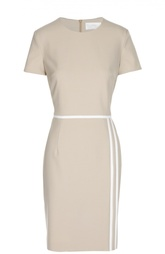 Приталенное платье с коротким рукавом и контрастной отделкой HUGO BOSS Black Label