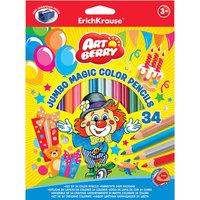 Цветные карандаши, 34цв., треугольн., с точилкой. Artberry Jumbo Erich Krause