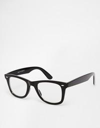 Очки с прозрачными стеклами в квадратной оправе ASOS - Черный