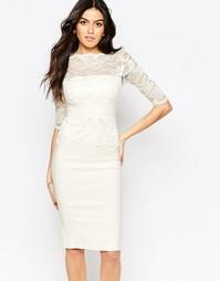 Платье миди с кружевным верхом и рукавами Vesper Esme - Слоновая кость