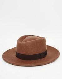 Бежевая шляпа с плоской тульей ASOS - Кэмел
