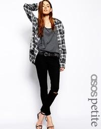 Черные укороченные джинсы скинни с заниженной талией и рваными коленям Asos Petite