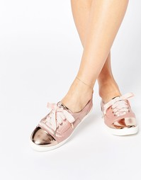 Кеды со шнуровкой и вставкой на носке Lost Ink Suri - Телесный