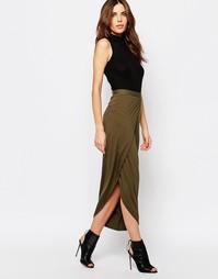 Трикотажная юбка макси с разрезом спереди Sisley - Зеленый