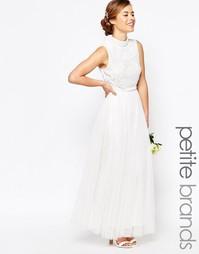 Платье макси со складками и отделкой на лифе Maya Peite - Белый