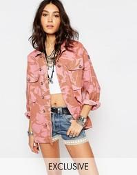 Розовая оversize-куртка в стиле милитари с камуфляжным принтом Reclaim Reclaimed Vintage