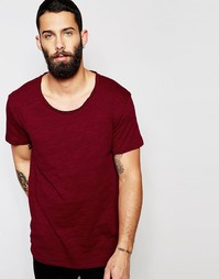 Удлиненная футболка с овальным вырезом Only & Sons - Burgundy