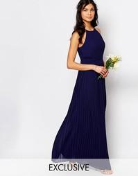 Плиссированное платье макси с высокой горловиной TFNC WEDDING