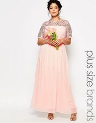 Шифоновое платье макси с отделкой Lovedrobe - Розовый
