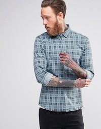 Джинсовая рубашка скинни в клетку ASOS - Умеренный выбеленный