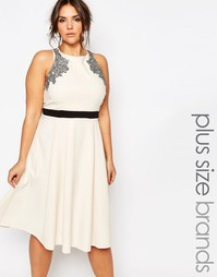 Приталенное платье миди со свободной юбкой Little Mistress Plus