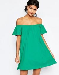 Платье мини с открытыми плечами ASOS - Зеленый