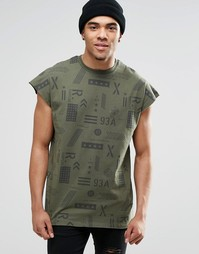 Свободная футболка без рукавов цвета хаки с принтом ASOS - Хаки