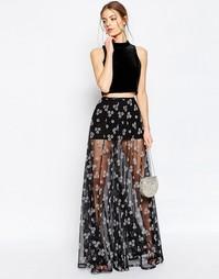 Прозрачная юбка макси с цветами ASOS - Черный