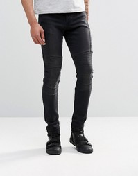 Черные супероблегающие джинсы с байкерской отделкой ASOS