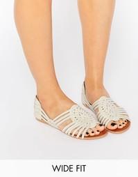 Кожаные летние туфли для широкой стопы ASOS JESPER - Бежевый