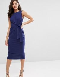 Облегающее платье миди с завязкой сбоку ASOS - Темно-синий