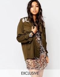 Oversize-куртка милитари с кисточками на плечах Reclaimed Vintage
