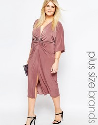 Платье миди с рукавами‑кимоно Boohoo Plus