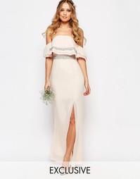Платье‑бандо макси с отделкой TFNC WEDDING