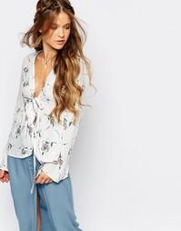Блузка с цветочным принтом Honey Punch - Кремовый