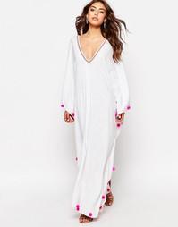 Летнее платье с отделкой помпонами Pitusa Sevillana - Белый