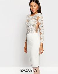 Облегающее платье миди с кружевом кроше Club L - Белый