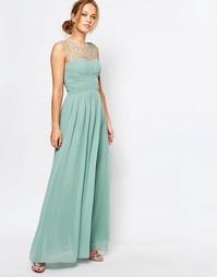 Платье макси с присборенной юбкой Little Mistress - Зеленый шалфей