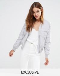 Эксклюзивная куртка-пилот в стиле милитари Missguided - Светло-серый