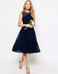 Платье миди с драпированной вставкой ASOS WEDDING - Темно-синий