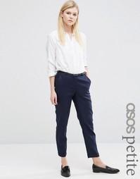Льняные брюки-сигареты с ремнем ASOS PETITE - Белый