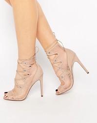 Туфли на каблуке со шнуровкой ASOS PERCEPTION - Телесный