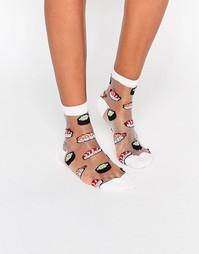 Полупрозрачные носки с суши ASOS - Белый