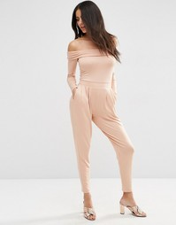 Комбинезон с длинными рукавами и широкими штанинами со складками ASOS