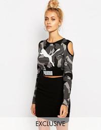 Укороченный свитшот с открытыми плечами Puma - Камуфляжный
