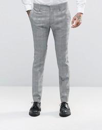 Суперзауженные брюки в клетку Religion - Серый